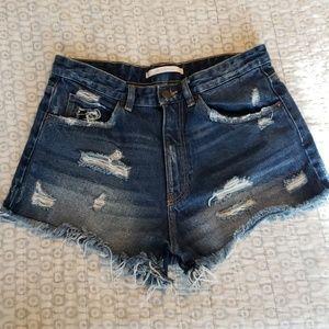 ZARA High waisted  Distressed Shorts